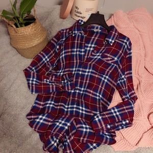 Lucky Brand Flannel Button-Down Top | Red Blue